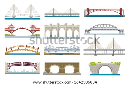Bridges architecture, vector flat simple icons set. Different types of bridges, movable and hanging suspension bridge with transportation ways over river, Chinese or Japanese, wooden and stone bridges