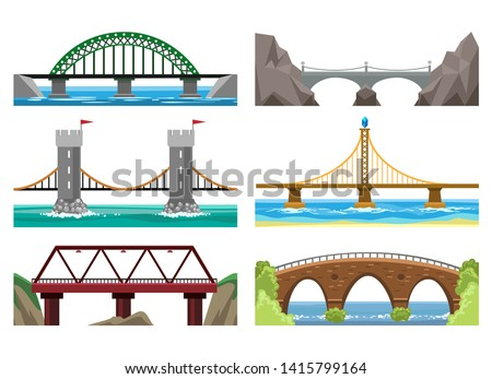 Bridges color illustration. Wooden and metal bridge element with landscaping and rivers, vector icons set