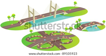 bridges fun cartoon map