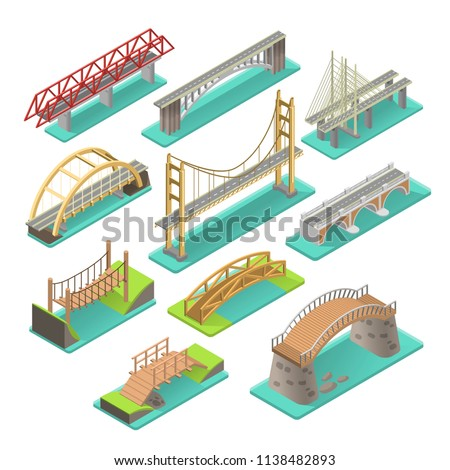 Bridges isometric set. Structures to carry a road, path, railway, across river, road, or other obstacle, industry elements in realistic style. Vector illustration wooden and concrete bridges.