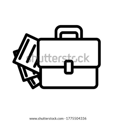 Briefcase and document simple black and white outline icon. Flat vector illustration. Isolated on white background. Foto d'archivio ©
