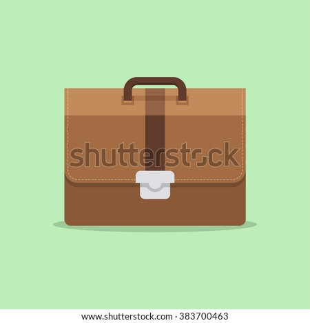 Briefcase business vector illustration in flat style. Briefcase with lock icon isolated on colored background.