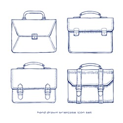 briefcase hand drawn icons set, vector doodles