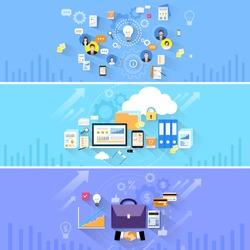 Briefcase Handshake Computer Cloud Storage Social Media Communication People Banner Set Flat Vector Illustration