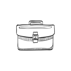 Briefcase icon in doodle sketch lines. Office business equipment travel journey meeting
