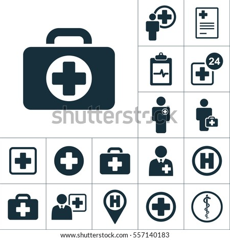 briefcase icon, medical signs set on white background