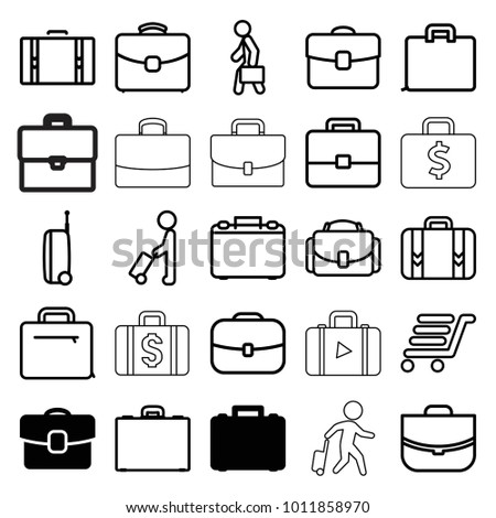 Briefcase icons. set of 25 editable outline briefcase icons such as case, man with luggage, luggage cart, luggage, man with case