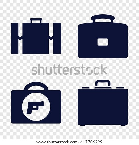 Briefcase icons set. set of 4 briefcase filled icons such as briefcase with weapon, case