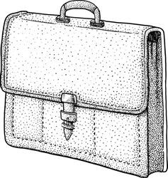 Briefcase illustration, drawing, engraving, ink, line art, vector
