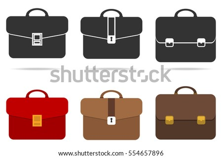 Briefcase, set of briefcase, bag, suitcase. Flat design, vector illustration, vector.