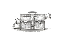 Briefcase with documents. Hand drawn engraving style illustration.