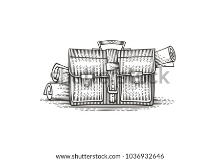 briefcase with documents. hand...