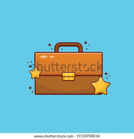 Briefcase with Star Symbol Vector Illustration. Education Design Concept. Stock photo ©