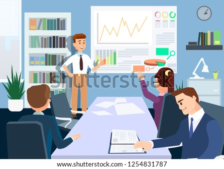 Briefing and Conference Concept. Working Presentation. Male Leader shows Work Schedule. Brainstorm and Teamwork Set. Office staff Training and Communication. Vector Flat Illustration.
