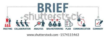 briefing of business plan, collaboration, brainstorming, meeting, communication and planning. BRIEF Vector illustration concept