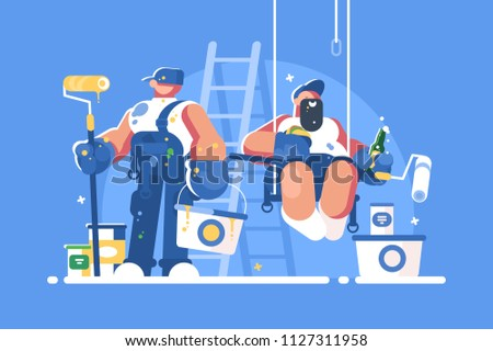 Brigade of painters with buckets and rollers. Builders have lunch. Vector illustration