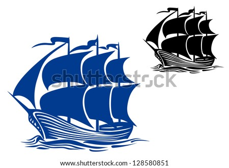 Brigantine sail ship for travel or another design. Jpeg version also available in gallery