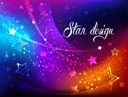 Bright, abstract, iridescent background with luminous stars.