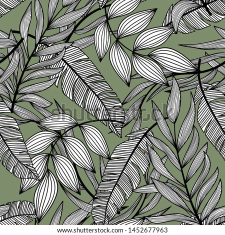 Bright abstract seamless pattern with colorful tropical leaves and plants on green background. Vector design. Jungle print. Floral background. Printing and textiles. Exotic tropics. Fresh design.
