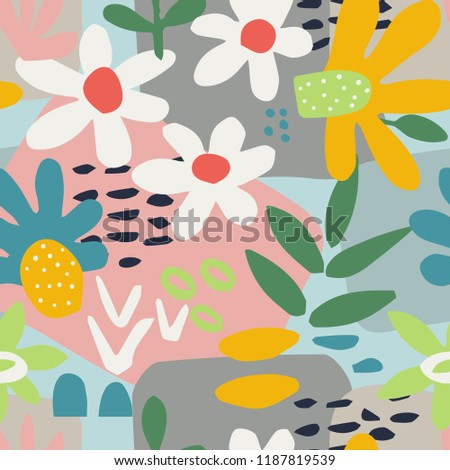 Bright abstract seamless pattern with flowers in cutout style. Vector illustration.