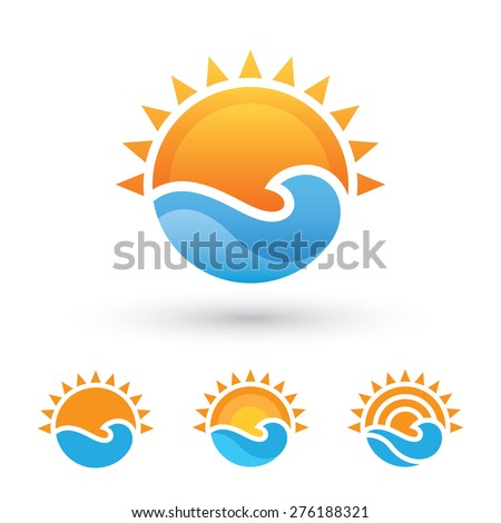 bright abstract symbol with sun