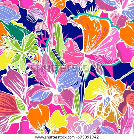 Bright Abstract wallpaper seamless vintage flower pattern.