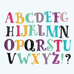 Bright alphabet set in vector. Stylish letters and numbers in different modern colors. Cartoon abs icons