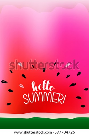 Bright and Colorful Watermelon Poster, vertical orientation, with bursting seeds surrounding Hello Summer! greeting
