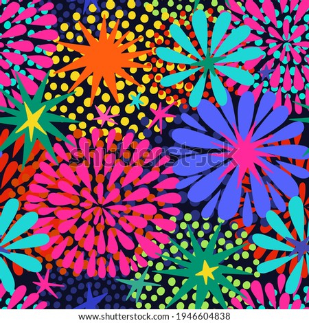 Bright and Festive Abstract Vector seamless pattern with Stars and Fireworks in a dark background.  Photo stock ©