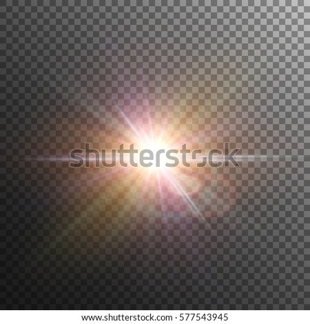 Bright and glowing colorful star. Lens flare. Sun. Vector effect on transparent background..