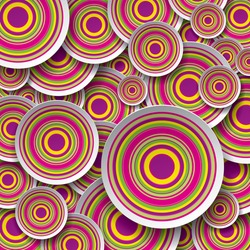 Bright and striped circles, art background, vector design texture