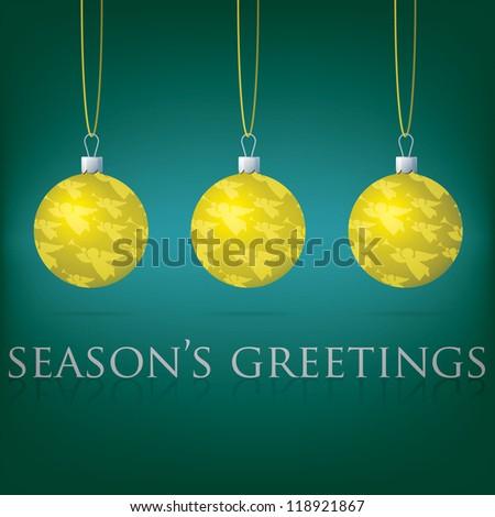 Bright aqua Season's Greetings bauble card in vector format.