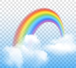 Bright arched rainbow with clouds realistic vector illustration on transparent background