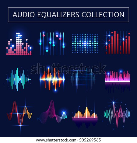 Bright audio equalizer neon set with sound waves symbols on blue background flat isolated vector illustration