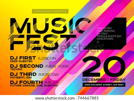 Bright Autumn Electronic Music Poster for Festival or DJ Party. Concept of Minimal Art Design for Event, Club Flyer, Invitation, Poster, Banner. Colorful Yellow Background with Gradient.