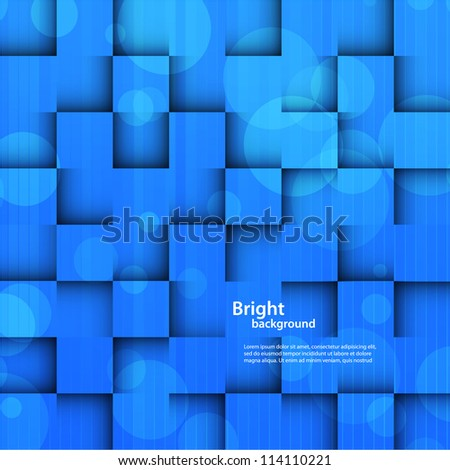 Bright background with blue squares. Abstract illustration