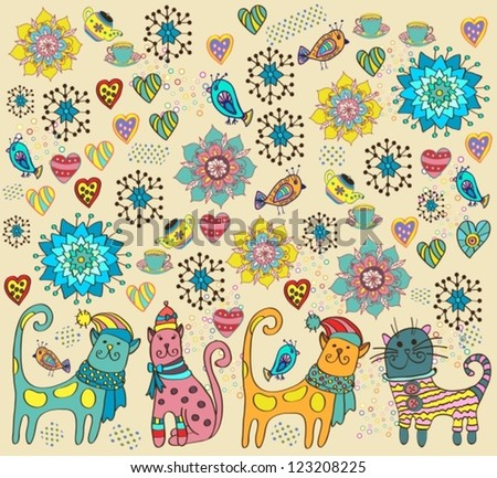 Bright background with cats, birds, flowers and hearts, vector