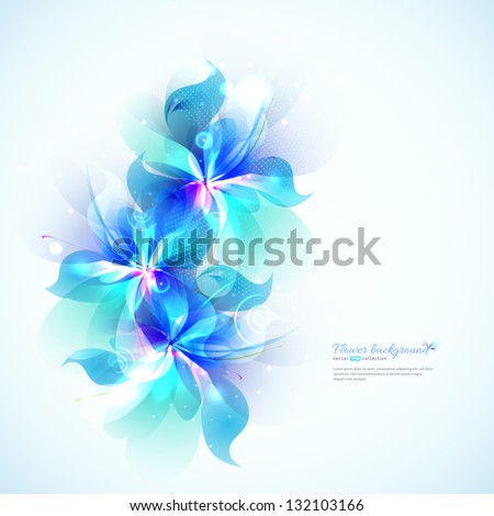 Bright background with light blue abstract flowers. Floral card