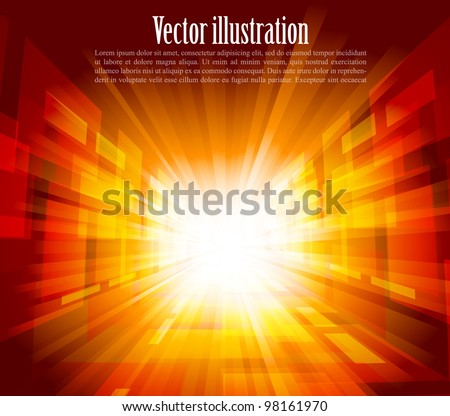 Bright background with rays in orange color