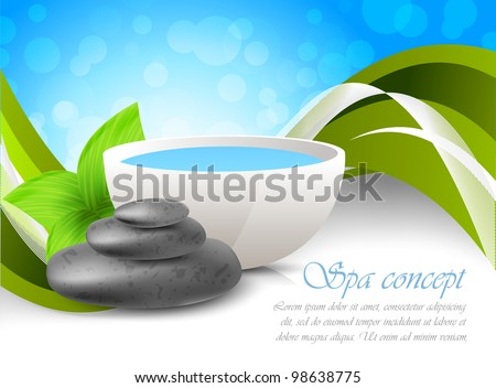 Bright background with stones and green leaves
