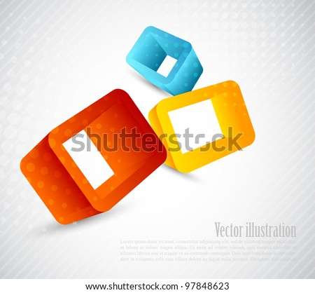 Bright background with three color 3d cubes