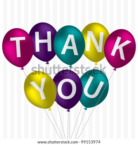 "Bright balloon bunch ""Thank You"" card in vector format."