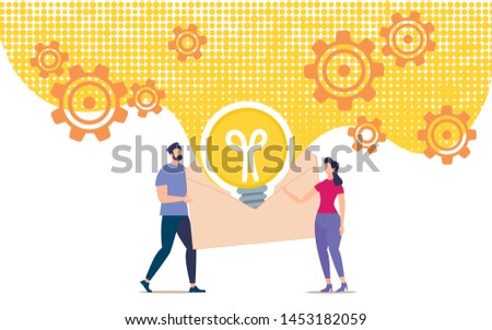 Bright Banner Envelope with Information About Idea.  Conceptual Idea People Pass on Their Ideas to Others. Man and Woman are Looking Open Envelope in Middle which is Glowing Light Bulb.
