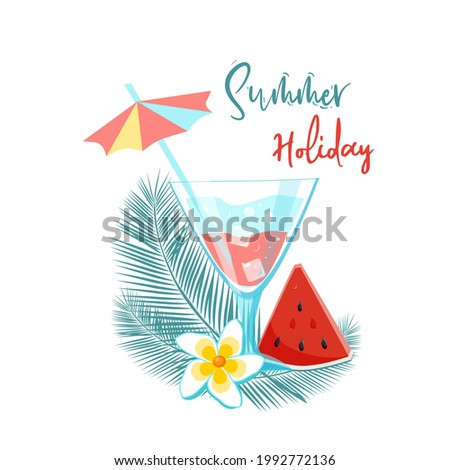 Bright banner greeting on the Summer holiday. Palm leaves, watermelon slices and a refreshing cocktail in cartoon style