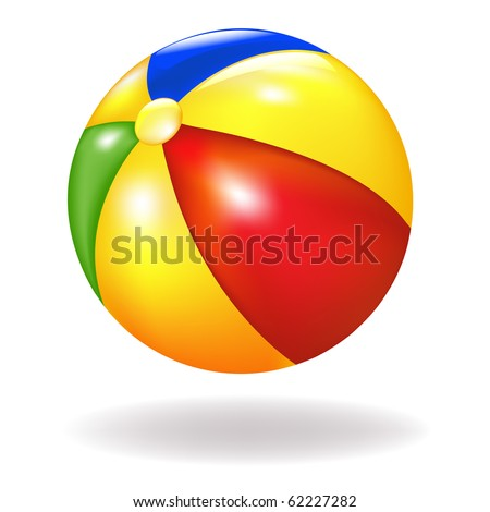 Bright Beach Ball, Isolated On White Background, Vector Illustration