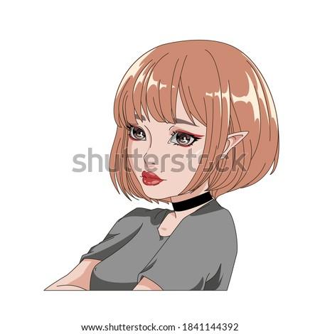 bright beautiful girl in anime
