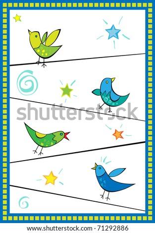 bright birds sitting on wires