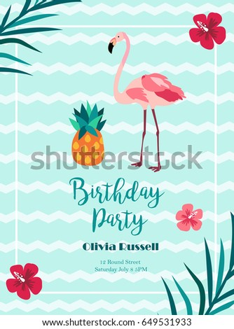 Bright Birthday invitation in Hawaiian style with flamingo and pineapple