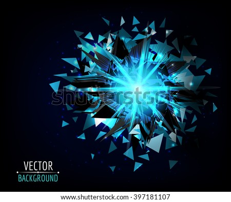 Bright blast in dark. Vector abstract background. Glowing neon light.
