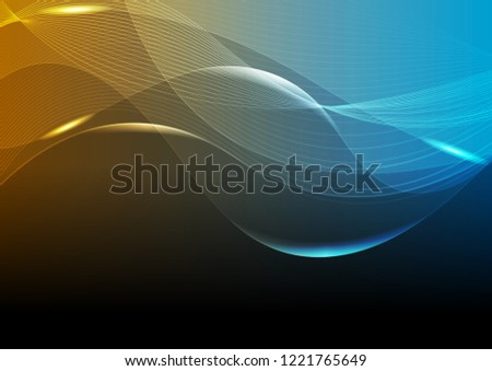 Bright blue and orange glowing tech curved waves abstract background. Vector design